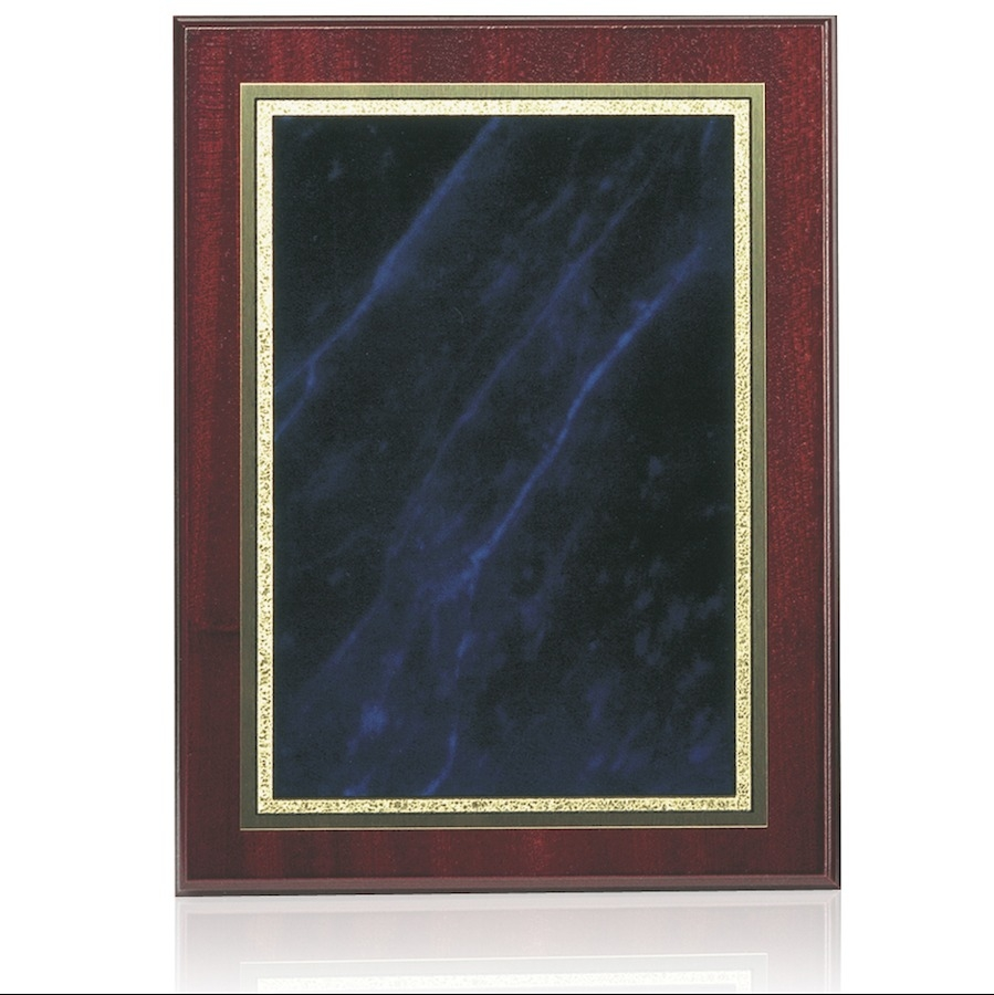 Mahogany Finish Blue Marble Mist Brass Fronted Plaques - 4 sizes - BP01