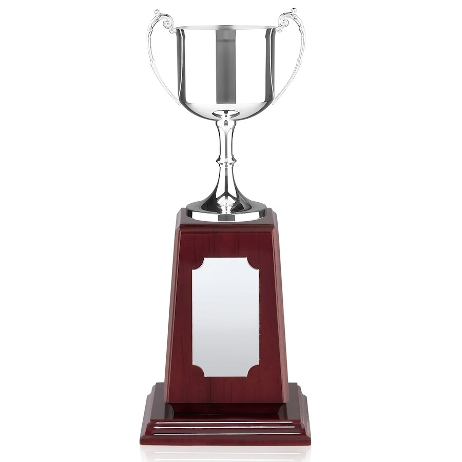 British Made Nickel Plated Trophy Cup - Tall Piano Wood Base - 2 Sizes - PWSN10