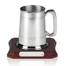 Traditional Glass Bottom Pewter Tankard - On Wooden Base - PT14