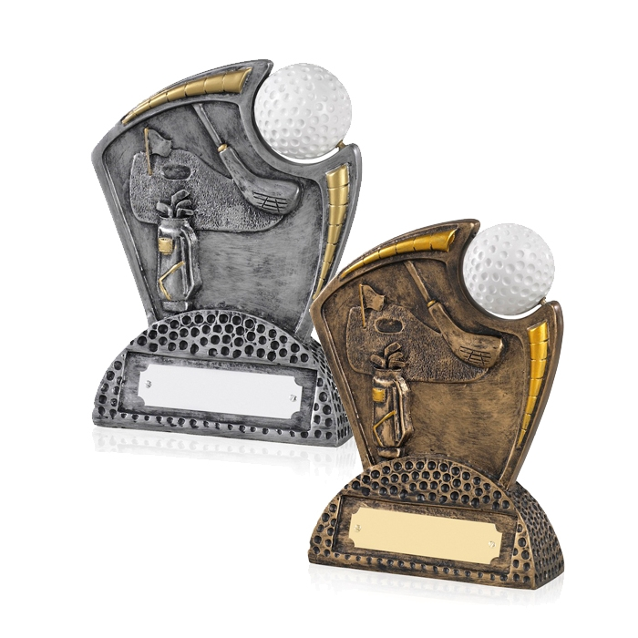 Antique Bronze and Silver Finish Resin Golf Awards - GX013 and GX014
