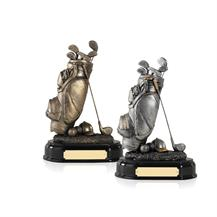 Golf Bag Resin Awards Antique Bronze and Silver - GX007 and GX008