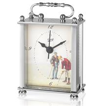 Silvertone Beaded Design Golf Themed Carriage Clock - JG004
