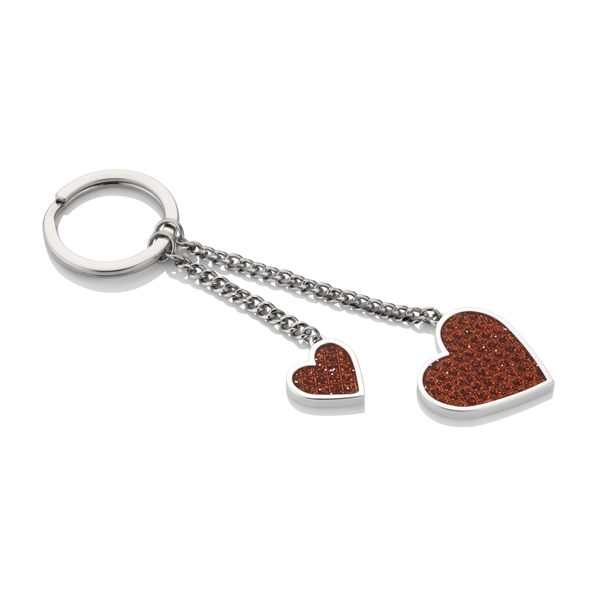 Red Heart Diamonte Silver Plated Keyring - EGK4008