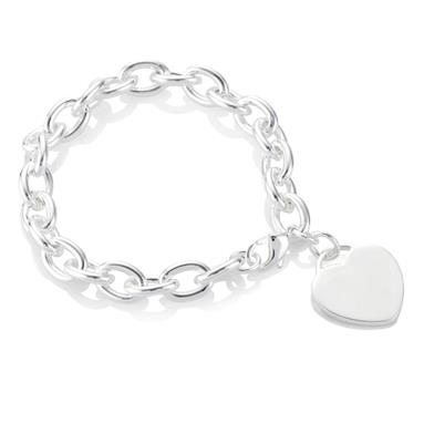 Charm Bracelet with Heart Clasp - Unengraved
