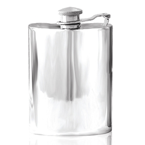Plain Captive Top Pewter Hip Flask - 4 oz