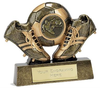 Mini Boot and Ball Resin Trophy - A285B - 3.75 inch