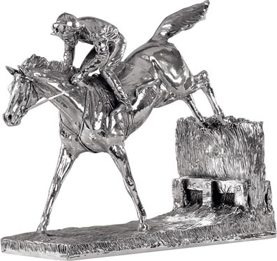 Sterling Silver 'Horse and Jockey - Over The Sticks'