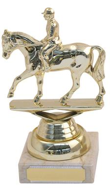 Marble Plastic Horse/Rider Trophy