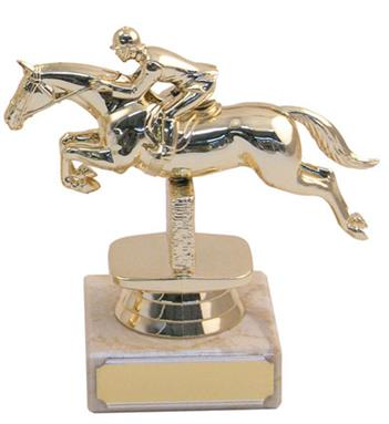 Marble Plastic Jumping Horse Trophy