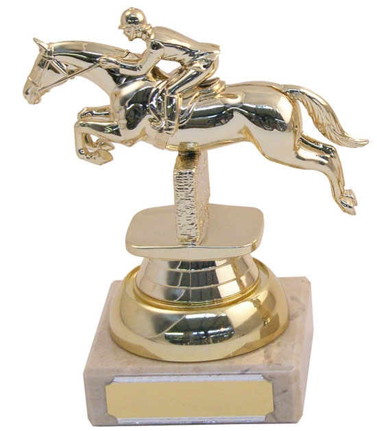 Marble Plastic Jumping Horse Trophy zoomed