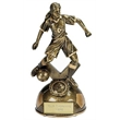Dual Tone Resin Female Football Figure Award with Cut-out Backplate