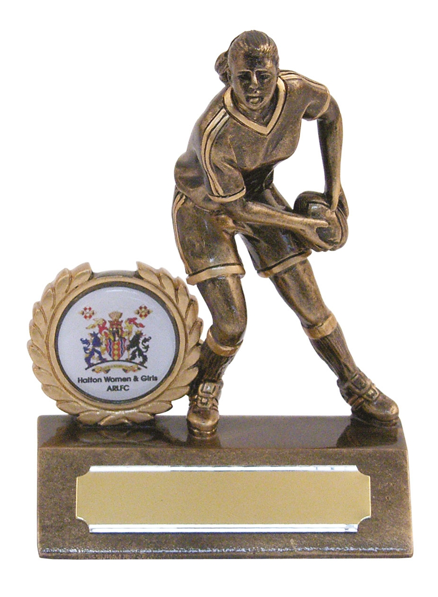 Beautiful Resin Mini Female Rugby Trophy