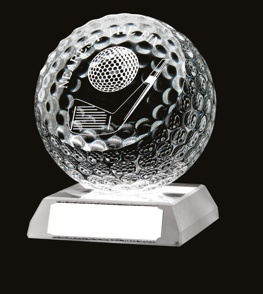 Beautiful Glass Golf 'Nearest The Pin' Ball Trophy