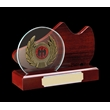 Beautiful Wood Football & Glass With Trim Trophy