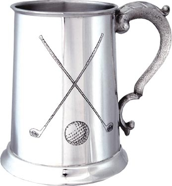 Pewter Golf Tankard - 'Crossed Clubs'