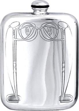 Stamped Charles Rennie Mackintosh Pewter 6oz Hip Flask - Style 1