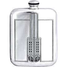 Stamped Charles Rennie Mackintosh Pewter 6oz Hip Flask - Style 2