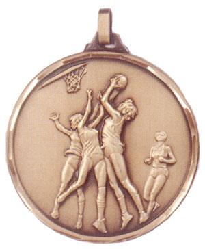 Faceted Women's Basketball Medal