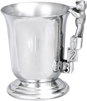 Child's Pewter 'Bell' Tankard - ABC/123 Handle