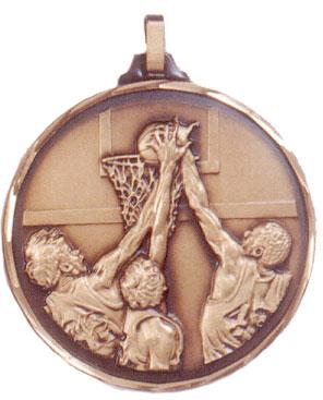 Faceted Basketball Medal - Slam Dunk