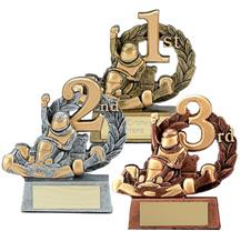 Dual Tone Resin Go Kart Trophy - 1st, 2nd, 3rd Place