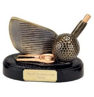 Ball And Club Hole In One Golf Trophy