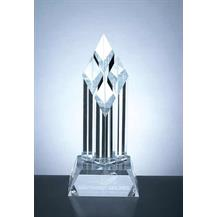 Superior Diamond Shape Crystal Tower Award with Clear Slant Base