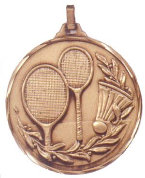 Faceted Badminton Medal