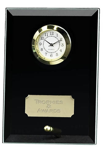 Black Meteor Jade Glass Clock Award