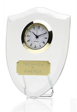 Shield Jade Glass Clock Award